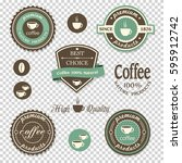 coffee icons labels  posters ... | Shutterstock .eps vector #595912742