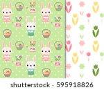 cute easter seamless patterns... | Shutterstock .eps vector #595918826