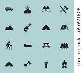 set of 16 editable camping... | Shutterstock .eps vector #595921808