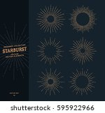 set of vintage hand drawn... | Shutterstock .eps vector #595922966