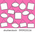 doodle style hanging signs or... | Shutterstock .eps vector #595923116