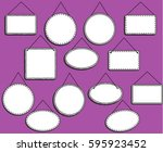 doodle style hanging signs or... | Shutterstock .eps vector #595923452