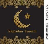 ramadan kareem greeting card... | Shutterstock .eps vector #595924172