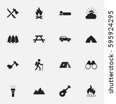 set of 16 editable travel icons.... | Shutterstock .eps vector #595924295