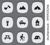 set of 9 editable trip icons.... | Shutterstock .eps vector #595925246