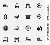 set of 16 editable car icons.... | Shutterstock .eps vector #595926668
