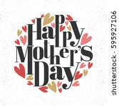 happy mother's day lettering... | Shutterstock .eps vector #595927106