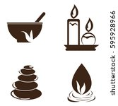 set of different spa icons on a ... | Shutterstock .eps vector #595928966