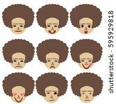 emoji woman emotion flat... | Shutterstock .eps vector #595929818