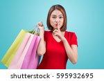 beautiful young asian woman... | Shutterstock . vector #595932695