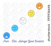 feedback emoticon scale. line... | Shutterstock .eps vector #595936646