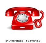 red retro telephone. vector | Shutterstock .eps vector #59595469