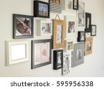 white wall with photos of the... | Shutterstock . vector #595956338