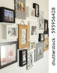 white wall with photos of the... | Shutterstock . vector #595956428
