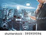 double exposure of professional ... | Shutterstock . vector #595959596