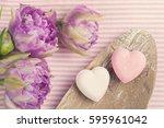vanilla and strawberry bath...   Shutterstock . vector #595961042