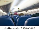 interior of airplane with... | Shutterstock . vector #595963676