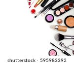 cosmetics top view on a white...   Shutterstock . vector #595983392
