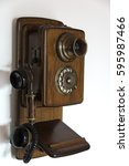 Small photo of Old wooden telephone