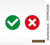 check mark and cross icons | Shutterstock .eps vector #595992008