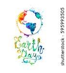 earth day. april 22. splash... | Shutterstock .eps vector #595993505
