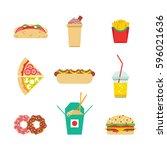 vector set of junk food  fast... | Shutterstock .eps vector #596021636
