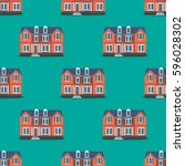 the color pattern of the houses.... | Shutterstock .eps vector #596028302