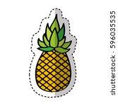 pineapple fresh fruit drawing... | Shutterstock .eps vector #596035535