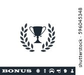 trophy icon flat. simple black... | Shutterstock . vector #596045348
