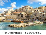 a picturesque view to jaffa old ... | Shutterstock . vector #596047562