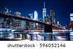 a view of the brooklyn bridge... | Shutterstock . vector #596052146