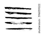 set of hand drawn grunge brush... | Shutterstock .eps vector #596059322