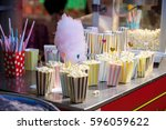 popcorn in vintage containers... | Shutterstock . vector #596059622