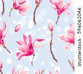 vector floral spring seamless... | Shutterstock .eps vector #596062046