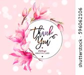 vector floral spring greeting... | Shutterstock .eps vector #596062106