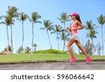 healthy woman runner jogging on ...   Shutterstock . vector #596066642