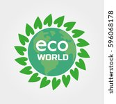 eco world concept. green plant... | Shutterstock . vector #596068178