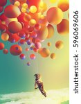 woman with colorful balloons... | Shutterstock . vector #596069606