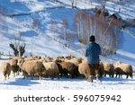 shepherd with his sheep on... | Shutterstock . vector #596075942