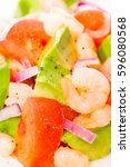 fresh prawn salad with avocado... | Shutterstock . vector #596080568