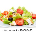 greek salad   feta cheese ... | Shutterstock . vector #596080655