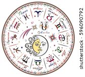 zodiac signs  horoscope | Shutterstock . vector #596090792