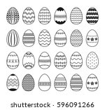 set of black and white easter... | Shutterstock .eps vector #596091266