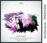 dancing people. party | Shutterstock .eps vector #596091302