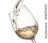 white wine pour  close up | Shutterstock . vector #596091455