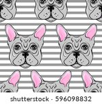 seamless pattern with dogs.... | Shutterstock .eps vector #596098832