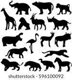 safari black and white vector... | Shutterstock .eps vector #596100092