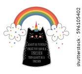 cute cat unicorn  with motif ... | Shutterstock .eps vector #596105402