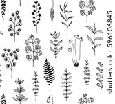 seamless pattern with black... | Shutterstock .eps vector #596106845
