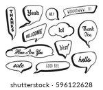 set of hand drawn speech bubble ... | Shutterstock .eps vector #596122628